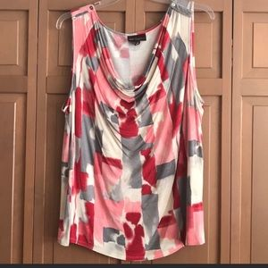 Abstract Print Cowl Neck Tank